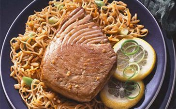 Teriyaki Tuna Steaks with Rice & Noodles